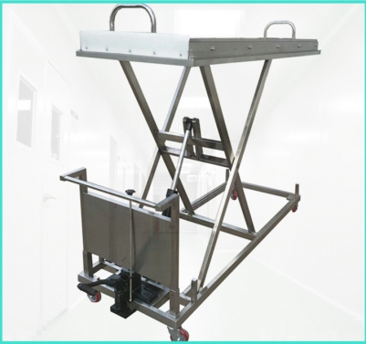 High Quality 304 Stainless steel hydraulic mortuary body lifting cart with 150cm height RD-1527