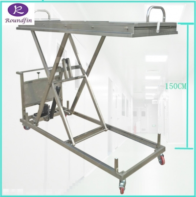 High Quality mortuary corpse transfer hydraulic lifter with 40 to 150cm height model number RD-1527
