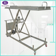 High Quality 304 Stainless steel hydraulic mortuary body lifter with 150cm height RD-1527
